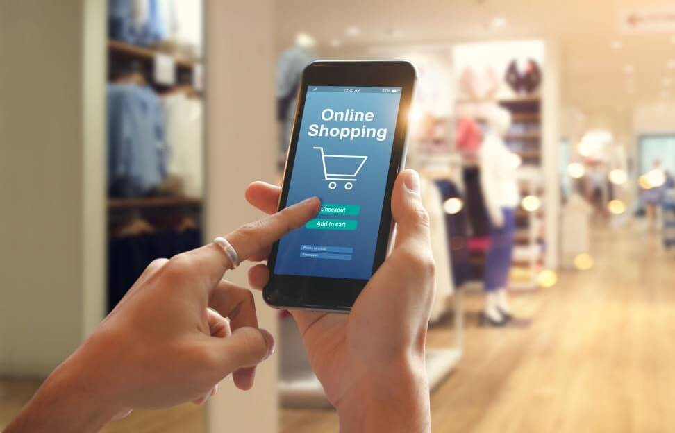 Woman shopping on a mobile app for business